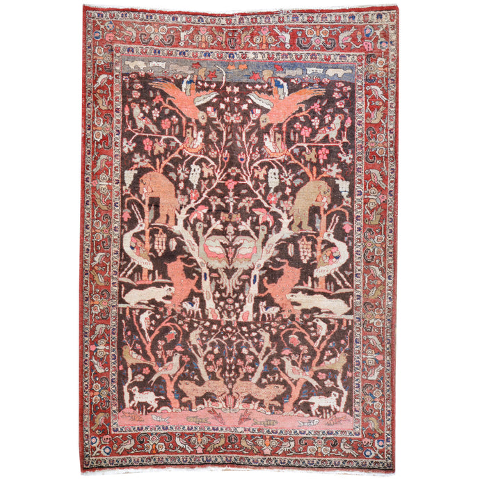 Hand-Knotted Persian Tribal Pictorial Design Wool Rug (Size 4.4 X 6.4) Cwral-7929
