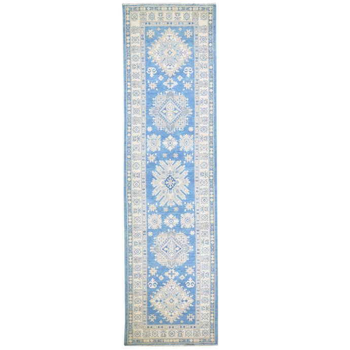 Hand-Knotted Vintage look Kazak Design Handmade Wool Rug (Size 3.2 X 11.5) Cwral-7950