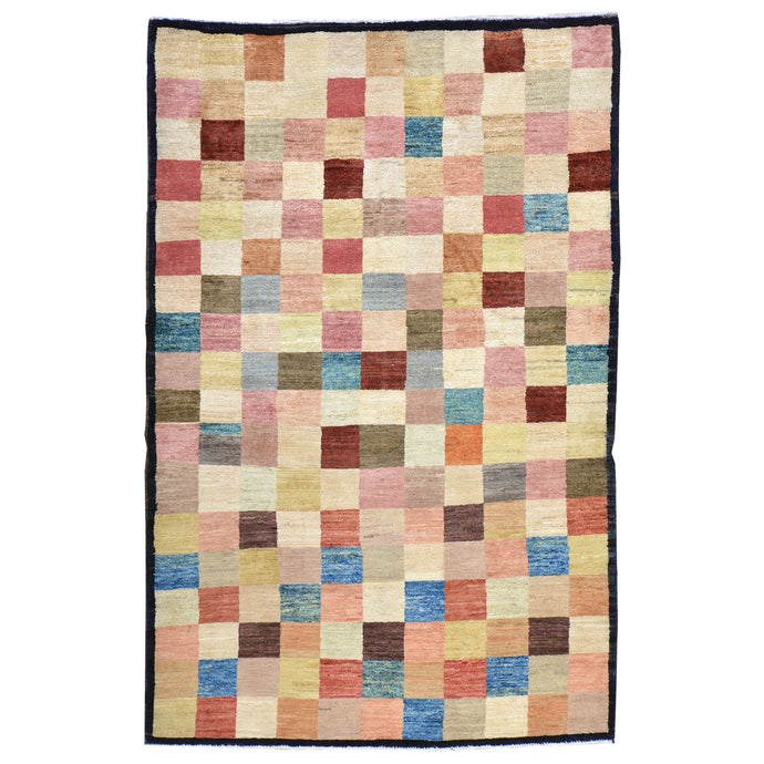 Hand-Knotted New Gabbeh Design Wool Area Rug (Size 4.2 X 6.4) Brral-798