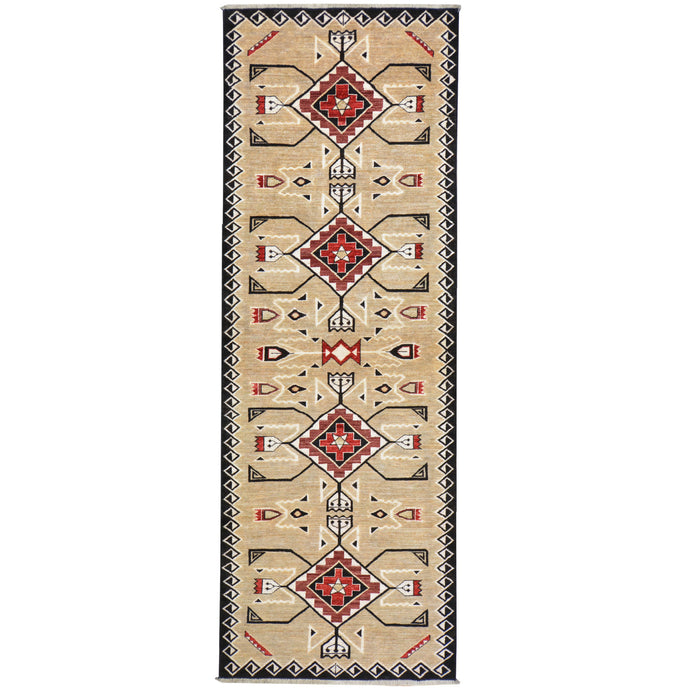 Hand-Knotted Tribal Southwestern Design Handmade 100% Wool (Size 2.10 X 8.2) Cwral-7989