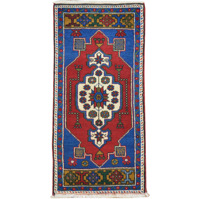 Hand-Knotted Oriental Tribal Turkish Wool Rug (Size 1.8 X 3.6) Cwral-8034