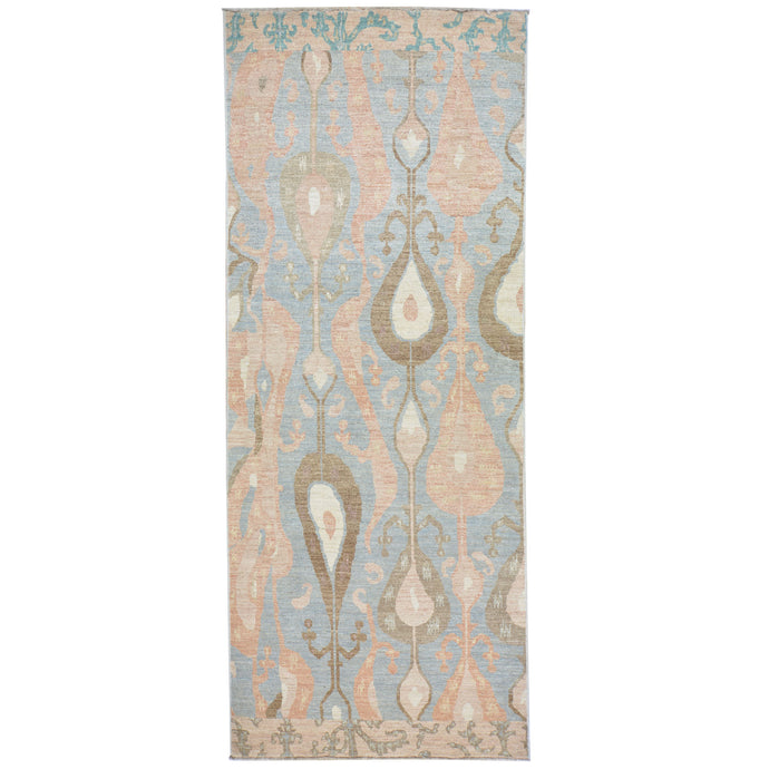 Hand-Knotted Wide Runner Ikat Design 100% Wool Rug Handmade (Size 4.2 X 10.3) Cwral-1443