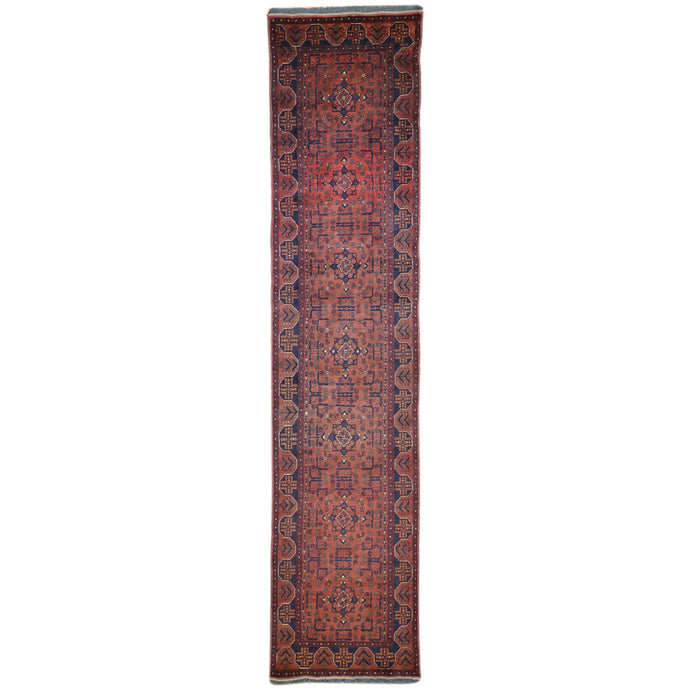 Hand-Knotted Turkoman Khal Mohammadi Design 100% Wool Rug (Size 2.7 X 12.6) Brral-1575