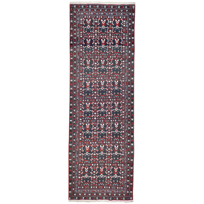 Hand-Knotted Fine Afghan Traditional Tribal Design 100% Wool Rug (Size 3.1 X 9.7) Brral-1584