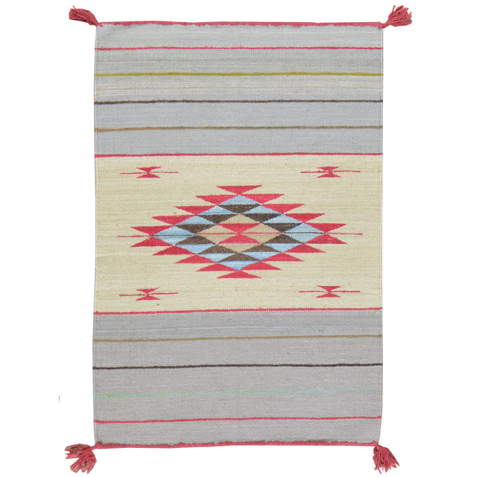 Hand-Woven Fine Southwestern Design Wool Rug (Size 2.1 X 3.2) Cwral-1992