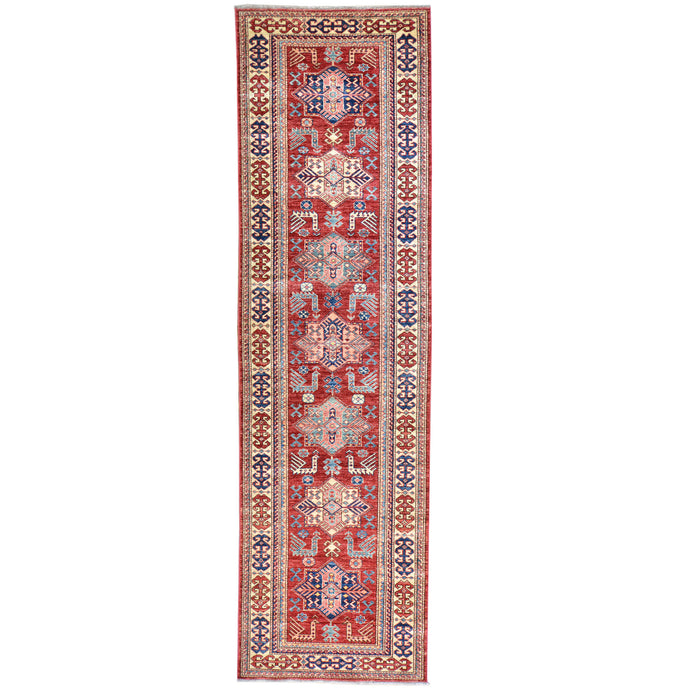 Hand-Knotted Fine Caucasian Super Kazak Design 100% Wool Rug (Size 2.11 X 10.3) Cwral-2793