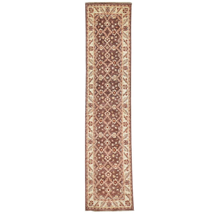 Hand-Knotted Floral Design Traditional Rug Handmade 100% Wool (Size 2.5 X 10.4) Cwral-2856