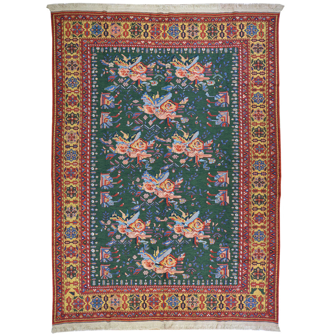 Hand-Woven Tribal Soumack Floral Design Wool Handmade Rug (Size 6.11 X 9.7) Cwrsf-21