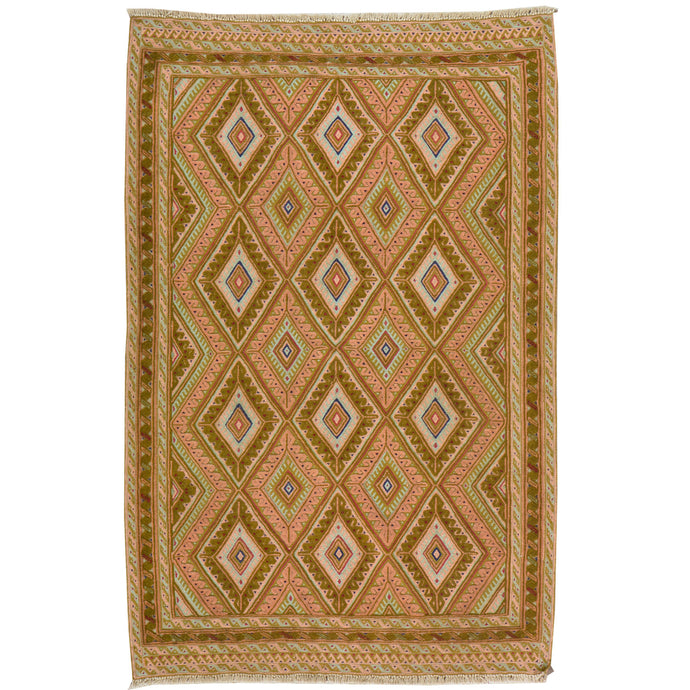Hand-Knotted And Soumak Afghan Wool Rug (Size 3.0 X 4.7) Brrsf-882