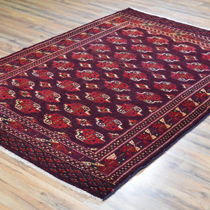 Hand-Knotted Vintage Tribal Afghan Yamut Design Wool Rug (Size 4.3 X 6.3) Brral-501