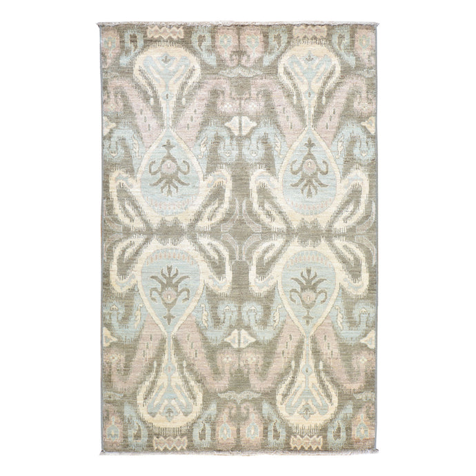 Hand-Knotted  Modern Chobi Ikat Design Wool Handmade Rug (Size 4.2 X 6.5) Brral-573