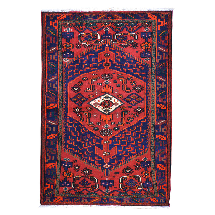 Hand-Knotted Persian Hamadan Wool Geometric Design Rug (Size 4.6 X 6.10) Cwral-6657