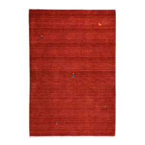 Hand-Loomed Solid Red Modern Gabbeh Wool Rug (Size 4.0 X 6.0) Brral-2418