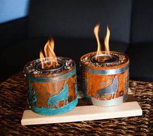 Miniature gel fuel fire pit with wolf designs
