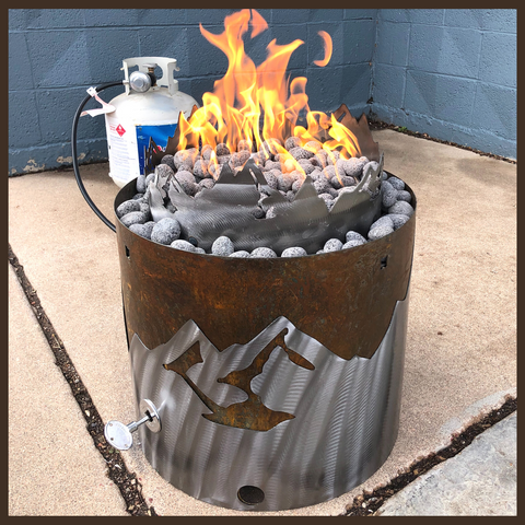 Mountain Scene Propane Fire Pit
