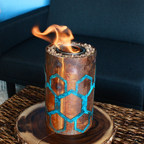 Tabletop fire pit with honeycomb design