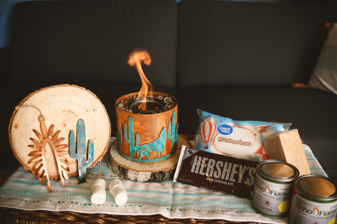 Tabletop fire pit bundle with Southwestern-themed ornament and magnet
