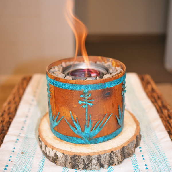 Small fire pit with blue yucca design