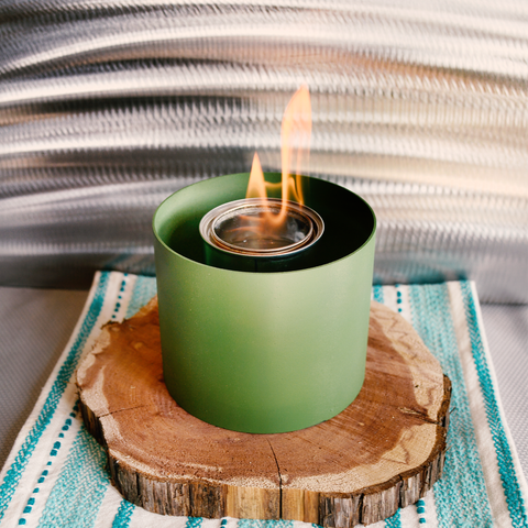 Sage green indoor fire pit