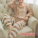 Spring And Autumn Women's Sleepwear Soft Fleece Plush Warm Nightgown Tops+Bottom Pants Woman Lounge Lady Flannel 2 Pcs/Set Pyjamas