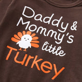 Infant Baby Boys Girls Letter Turkey Romper Pants Thanksgiving Day Outfits Set (Size:6M-24M)