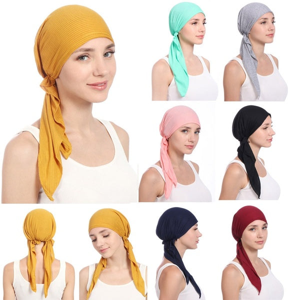 Women India Beading  Muslim Stretch Turban Hat Cotton Hair Tail Head Scarf  Wrap