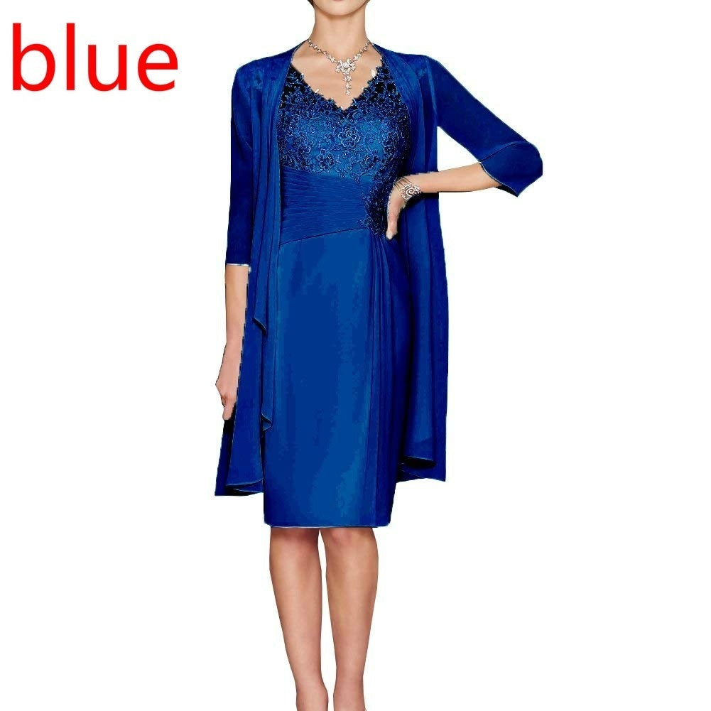 New Elegant Women's Fashion Charming Two Pieces Lace Knee Length Evening Gowns Dresses Party Dresses for Mother of The Bride Dresses S-5xl