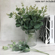 将图片加载到图库查看器,1 Bouquet Wedding Ornament Party Decor Home Decoration Floral Arrangement  Green Money Leaves Simulation Grass Artificial Eucalyptus Fake Plants