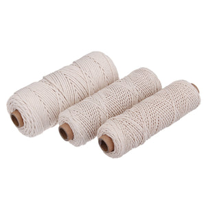 1/2/3mm 100m Off White/White Cotton String Natural Twisted Cord Crafts Wire Macrame Crochet DIY Home Decorations
