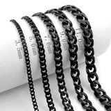 3.5/5/7/9/11 MM Stainless Steel Necklace Mens Boys Black Curb Chain Necklace Jewelry 24inch