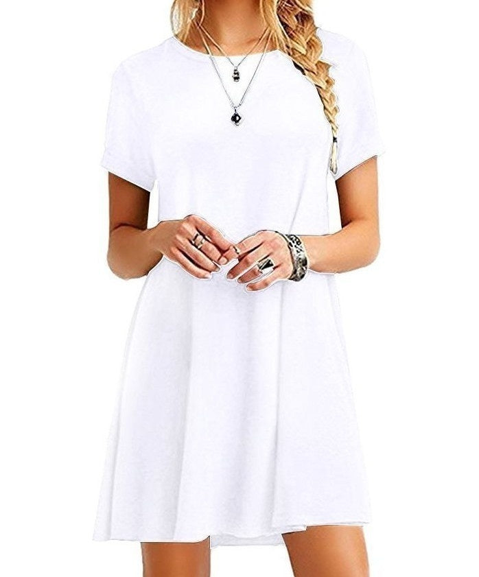 European and American Classic Fashion Summer Ladies Short-sleeved Cotton Dress