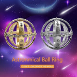 New Astronomical Ball Copper Plated 18K Gold Will Be Spherical Retro Clam Deformation Universe Ring Couple Jewelry Gift