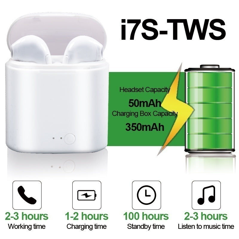 I7S TWS Earbuds Ture Wireless Bluetooth Double Earphones Twins Earpieces Stereo Music Headset with Charge Box