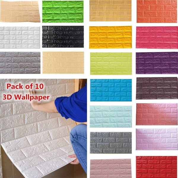 10PCS 3D Brick Pattern Anti-collision Wallpaper Wall Background Bedroom Living Room Decor Stickers 60*30CM