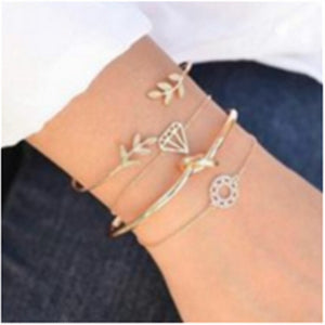 4pcs/1 sets of new fashion bracelets retro leaves knotted hollow diamond ladies bracelets wedding party holiday gift jewelry set