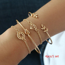 将图片加载到图库查看器,4pcs/1 sets of new fashion bracelets retro leaves knotted hollow diamond ladies bracelets wedding party holiday gift jewelry set