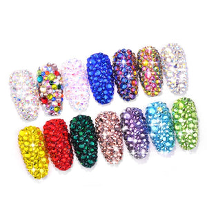 1 Box 12 Nail Art Rhinestones Multi Size Flat-back AB Crystal 3D Charm Gems Glittering Mermaid Sparking Decoration DIY