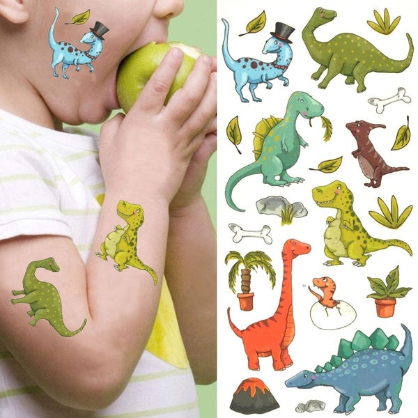 Cute Kid Arm Waterproof Jurassic Cartoon Dinosaur Tattoo Stickers Boy Body Face Temporary Tattoo Dinosaur Fake Tattoo Decals