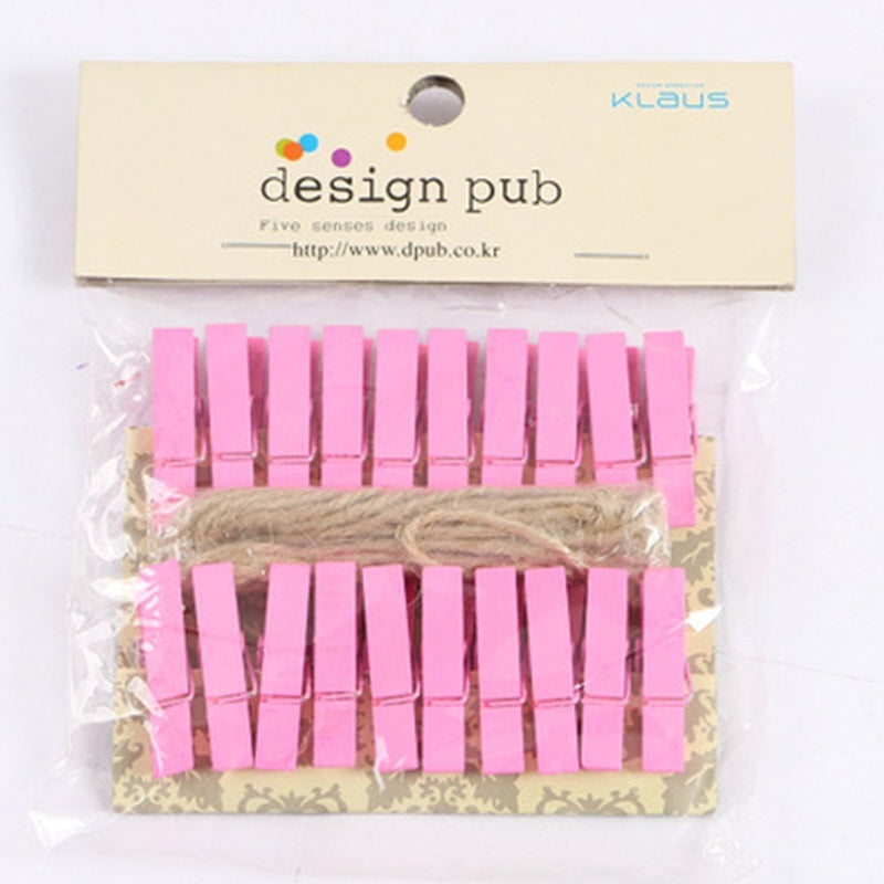 20PCS/Lot New Mini Natural Wooden Clothespin Photo Paper Peg Clothespin Craft Clips with 1 String