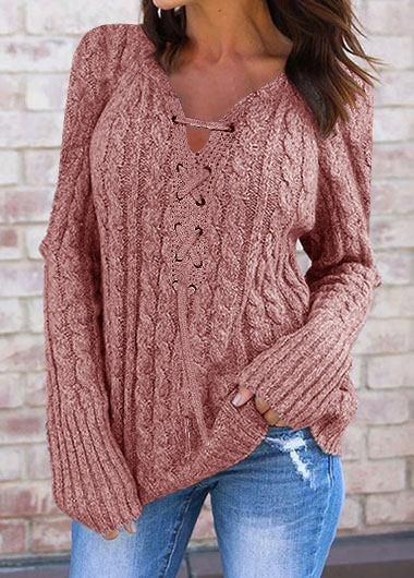 2019 Autumn and Winter Women Fashion  Long Sleeve Lace Up Sweater Pure Color Comfortable Knitted Sweater Tops Sleeve Casual Brief Pullover Sweater