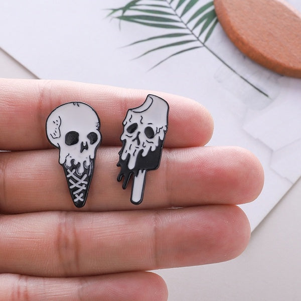 Ice Cream Skull Graphic Enamel Pins Psychedelic Foodie Lapel Pin  Clothing  Decor  Pastel Goth Creepy  Accesssories