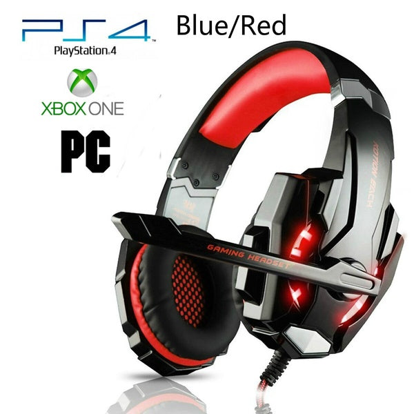 Pro Gamer PS4 Headset For PlayStation 4 Xbox One & PC Computer Red Headphone Headset