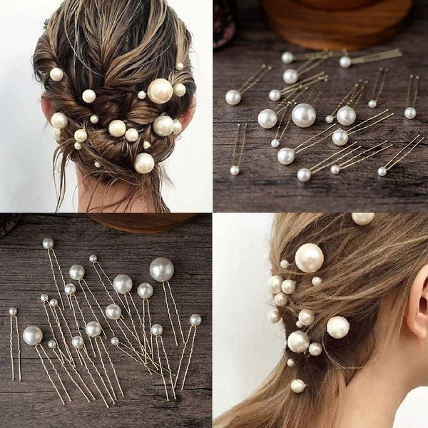 20Pcs/box Pearl U-shaped Pin Hairpin Bridal Tiara Hair Accessories Wedding Hairstyle Design Tools Disk Hair Haippins