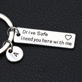 Drive Safe I Need You Here With Me/Couples Keychain/Engraved Keychain/Lettering A-Z Keychain/Husband Gift/Boyfriend Gift