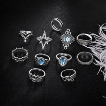 将图片加载到图库查看器,11 Pcs/set Retro Gem Waterdrops Leaves Flowers Opal Lotus Yoga Women Party Jewelry Bride Ring Fashion Valentines Day Gift