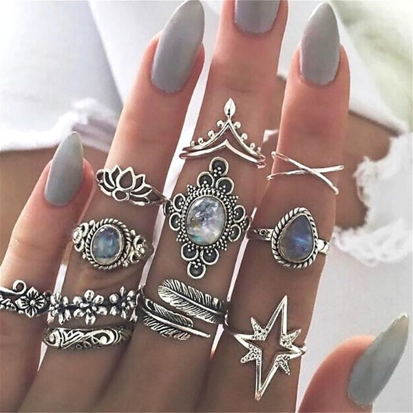11 Pcs/set Retro Gem Waterdrops Leaves Flowers Opal Lotus Yoga Women Party Jewelry Bride Ring Fashion Valentines Day Gift