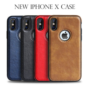 Luxury Vintage PU Leather Back Ultra Thin Case iPhone 6 S 7 8 Plus X XS Max XR Case & Samsung Galaxy S8 S9 S10 Plus Note 8 9 Anti-knock Back Cover Business Shell Phone Case