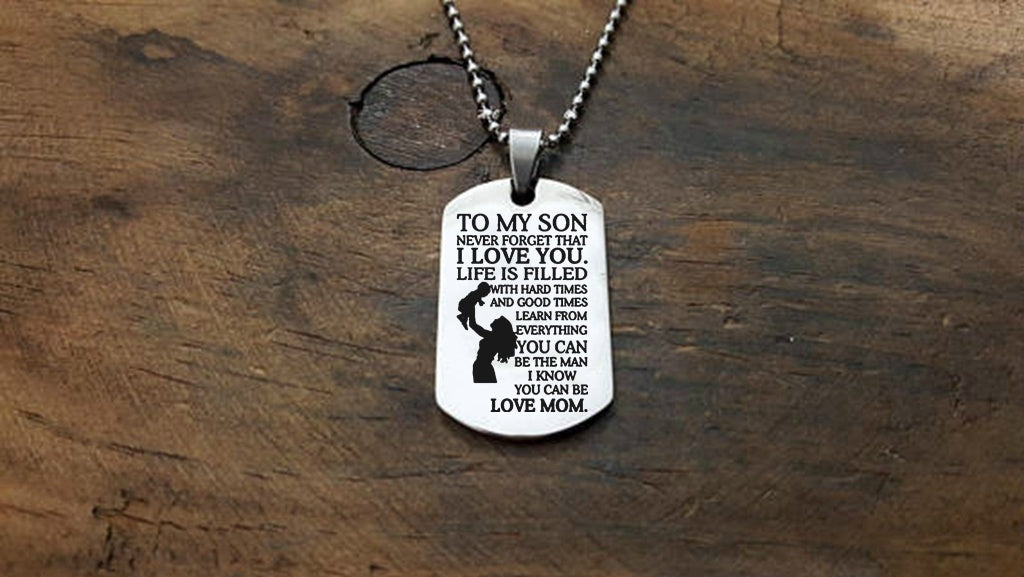 TO MY SON LOVE MOM Necklace Letter Dog Tag Stainless Steel Necklace for Son Inspirational Necklace Gift for Son