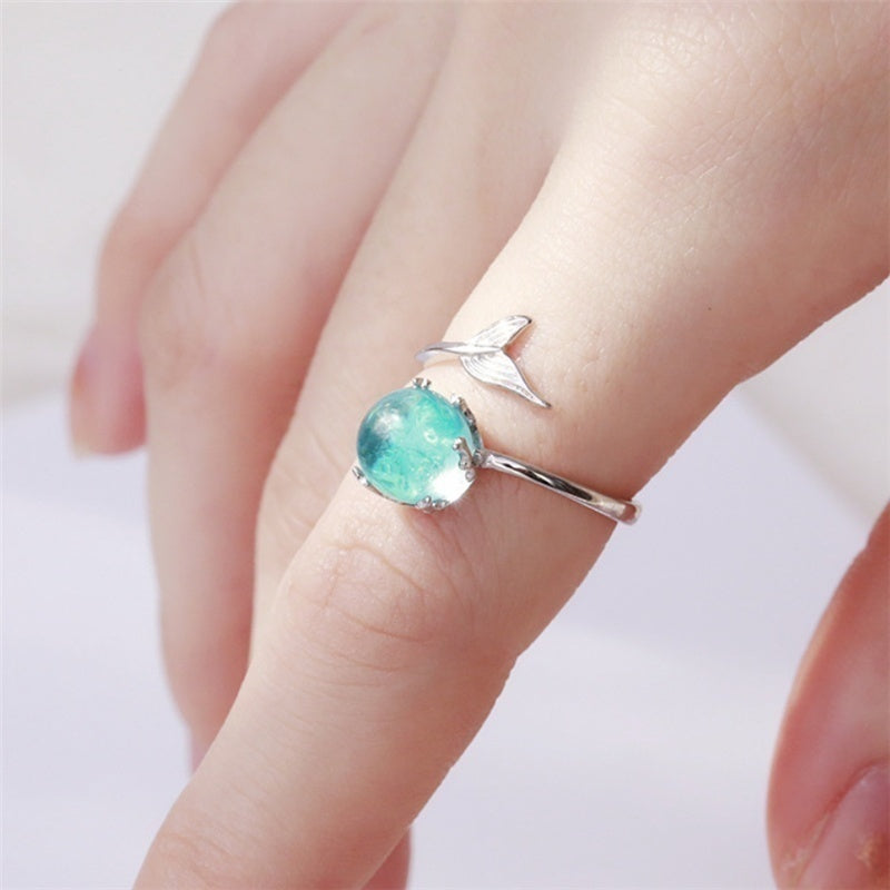 2018 Silver Open Blue Crystal Mermaid Bubble Rings for Women Girls Gift Statement Jewelry Adjustable Size Finger Ring