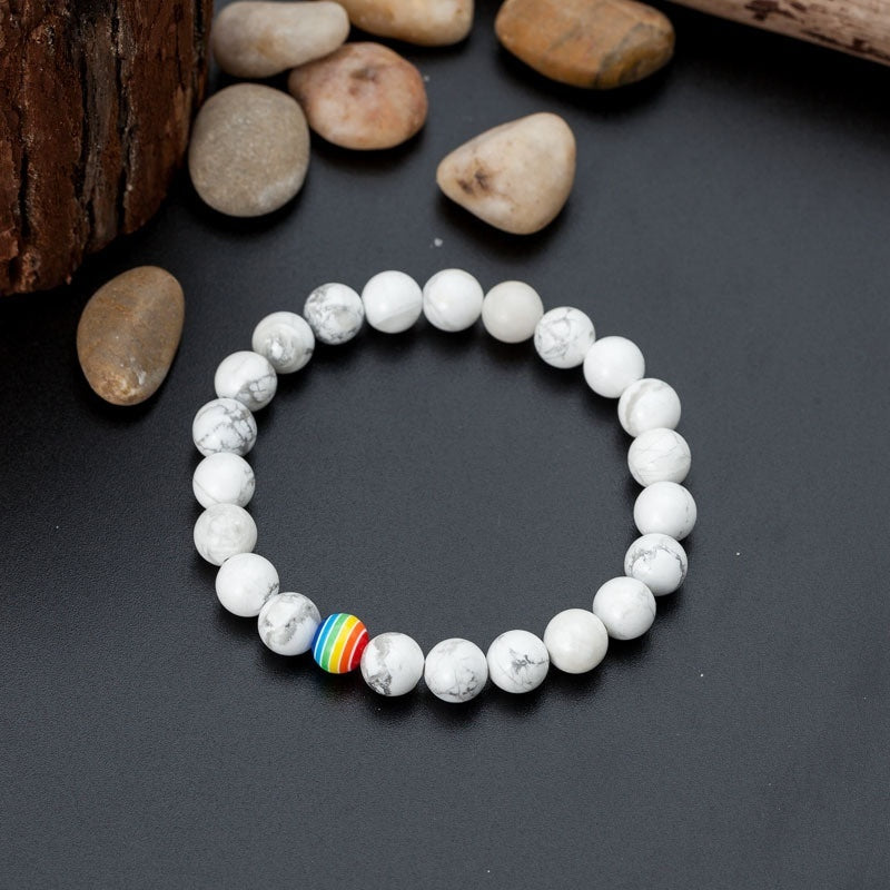 Natural White Pine Frosted Stone Rainbow Colorful Gay Lesbian Bracelet Jewelry